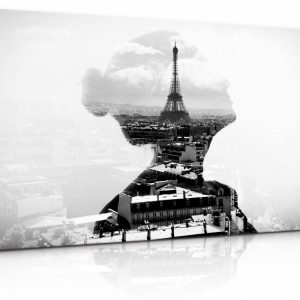 Černobílý obraz dáma v Paříži