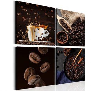 Čtyřdílný obraz čerstvá káva