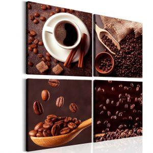 Čtyřdílný obraz ranní káva
