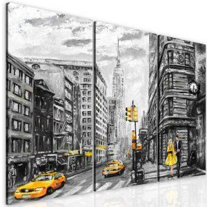 Malovaný obraz žlutý New York