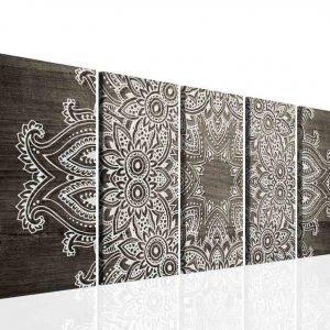 Obraz mandala šedé dřevo