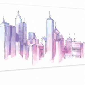 Obraz - Město barevné skvrny 140x70 cm