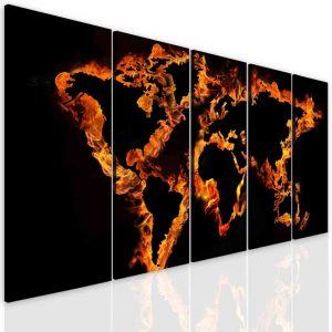 Obraz ohnivá mapa světa