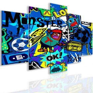 Pětidílný obraz bláznivé graffiti