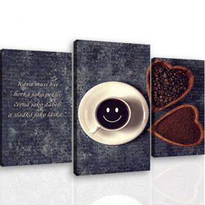 Třídílný obraz káva s úsměvem 130x100 cm