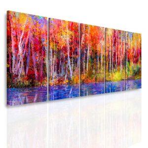 Vícedílný obraz - Barevný les
