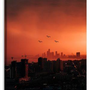 Obraz město v červeném 80x120 cm