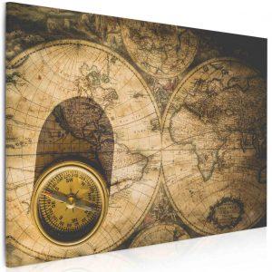 Obraz kompas na mapě