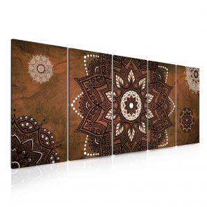 Obraz kouzelná mandala hnědá 175x70 cm
