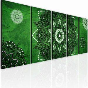 Obraz kouzelná mandala zelená 175x70 cm