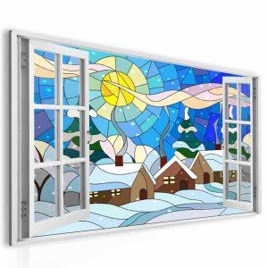 Obraz okno zimní vitráž