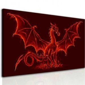 Obraz ohnivý drak 180x110 cm