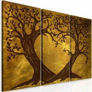 Obraz zlaté srdcové stromy