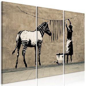 Obraz - Banksy: Washing Zebra on Concrete (3 Parts)