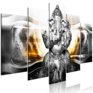 Obraz - Buddha Style (5 Parts) Silver Wide