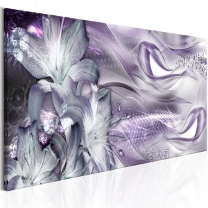 Obraz - Lilies and Waves (1 Part) Narrow Pale Violet