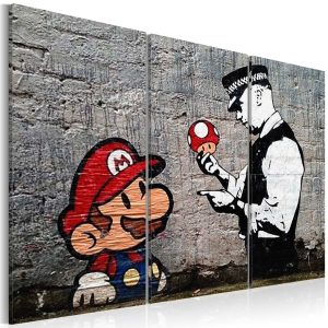 Obraz - Super Mario Mushroom Cop by Banksy