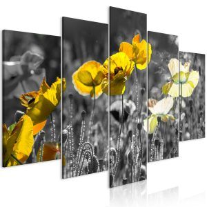 Obraz - Yellow Poppies (5 Parts) Wide