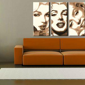 Ručne maľovaný POP Art obraz Marilyn MONROE 3 dielny  mon1