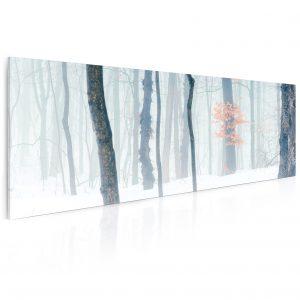 Obraz zimní les v mlze 55x25 cm