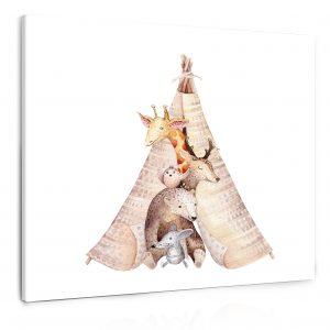 Obraz malovaná zvířátka 90x90 cm