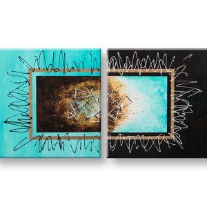 Maľovaný obraz na stenu ABSTRAKT 2 dielny YOBATAB006E2