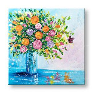 Maľovaný obraz na stenu KVETY VO VÁZE 1 dielny YOBATFL003E1