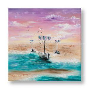 Maľovaný obraz na stenu LODE NA MORI 1 dielny YOBATLN007E1