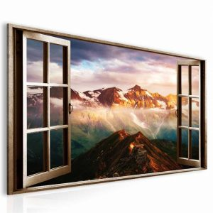 Obraz okno rakouské Alpy hnědé